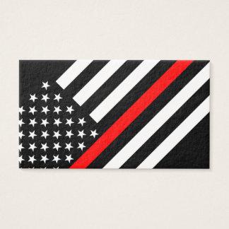 Cartão De Visitas Linha vermelha fina estilo do americano