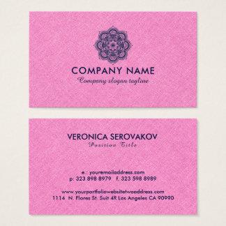 Cartão De Visitas Linho cor-de-rosa de serapilheira com mandala dos