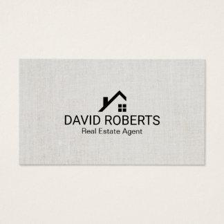 Cartão De Visitas Linho elegante do logotipo Home moderno do