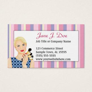 Cartão De Visitas Listra do rosa do maquilhador da beleza, louro