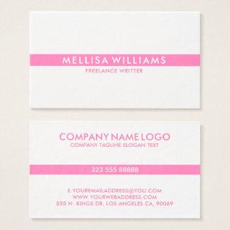 Cartão De Visitas Listra fina cor-de-rosa de Minimalistic no branco