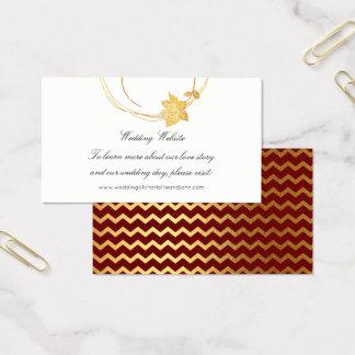 Cartão De Visitas Listra floral do Web site do casamento do ouro