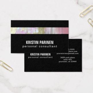 Cartão De Visitas Listra Pastel do ouro do rosa feito sob encomenda