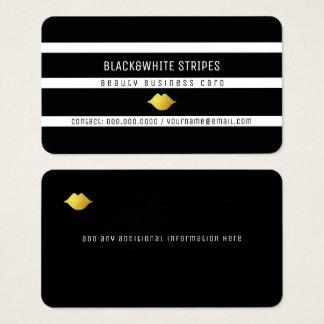 Cartão De Visitas listras brancas pretas & beleza moderna dos lábios