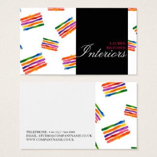 Cartão De Visitas Listras coloridas do arco-íris + design de
