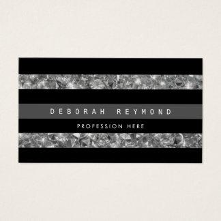 Cartão De Visitas listras & diamantes pretos, pro listrado feminino