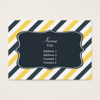 Cartão De Visitas Listras do cinza do amarelo e de carvão vegetal