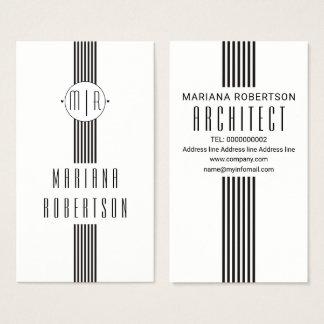 Cartão De Visitas Listras elegantes e branco preto do monograma