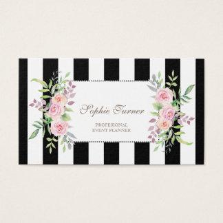 Cartão De Visitas Listras florais da aguarela elegante feitas sob