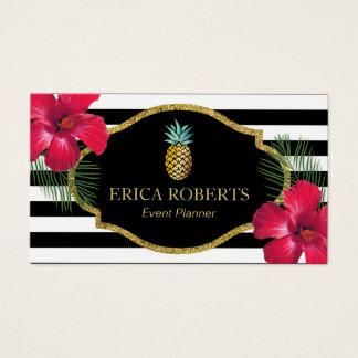 Cartão De Visitas Listras modernas do abacaxi havaiano do planejador