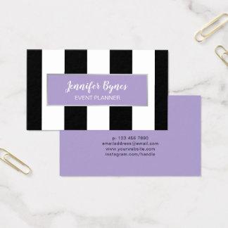 Cartão De Visitas Listras modernas e lavanda pretas & brancas