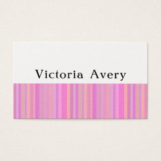 Cartão De Visitas Listras modernas femininos cor-de-rosa simples