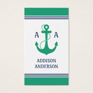 Cartão De Visitas Listras náuticas com monograma verde da âncora