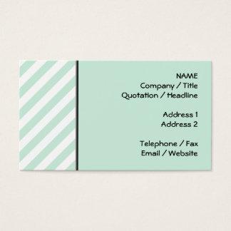 Cartão De Visitas Listras Pastel do verde e do branco de mar