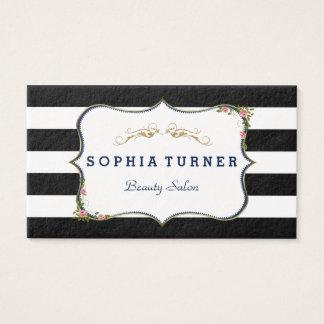 Cartão De Visitas Listras pretas & brancas do ouro floral do vintage
