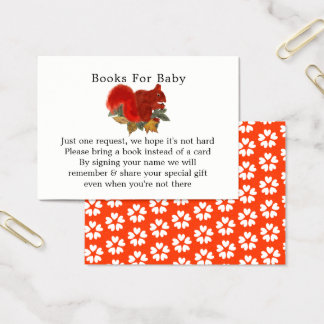 Cartão De Visitas Livros bonitos do chá de fraldas do esquilo