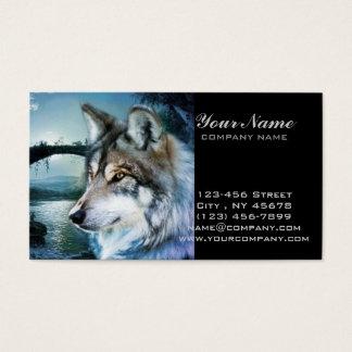Cartão De Visitas lobo da Lua cheia do luar da floresta da floresta