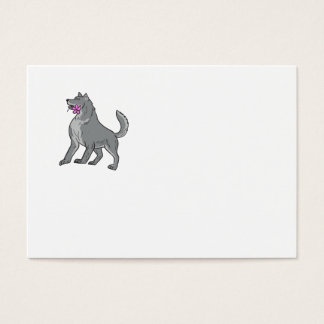 Cartão De Visitas Lobo de madeira que guardara o desenho da flor do