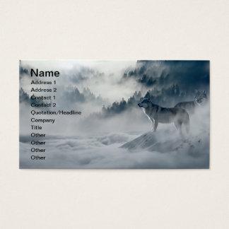 Cartão De Visitas Lobos na paisagem nevado do inverno