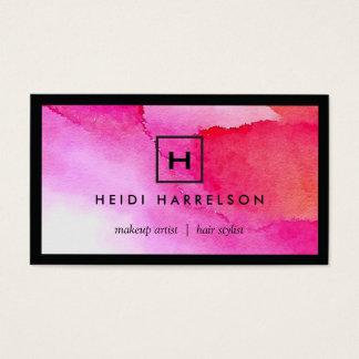 Cartão De Visitas Logotipo da caixa com sua inicial na aguarela