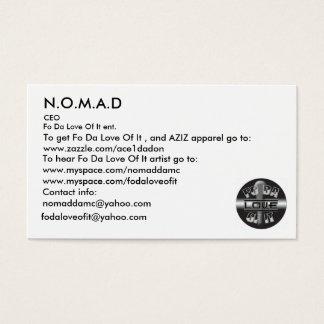 Cartão De Visitas Logotipo, N.O.M.A.D, para ouvir FO a Dinamarca