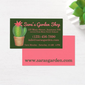 Cartão De Visitas Loja Potted do jardim do cacto do verde da planta