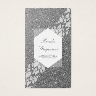 Cartão De Visitas Louro de prata das folhas do brilho e do branco