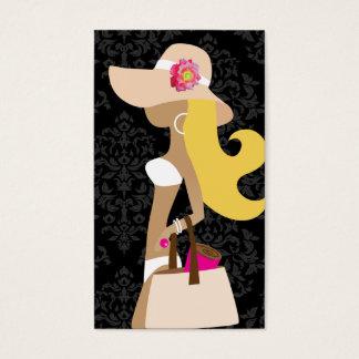 Cartão De Visitas Louro floral do Fashionista do rosa do biquini de