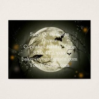 Cartão De Visitas Lua do Dia das Bruxas - ilustração da Lua cheia