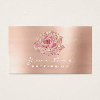 Cartão De Visitas Lux cor-de-rosa de Champagne do ouro da flor do