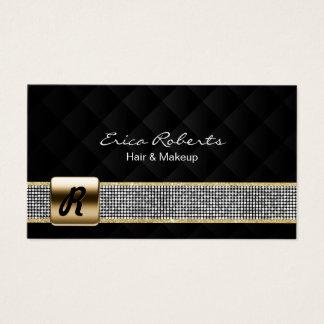 Cartão De Visitas Luxo da correia da prata do monograma do ouro do