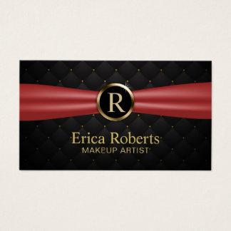 Cartão De Visitas Luxo vermelho da fita do monograma do ouro do