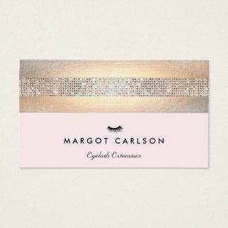 Cartão De Visitas Luz do Sequin e do ouro - extensões cor-de-rosa da
