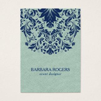 Cartão De Visitas Luz - laço floral azul da textura de linho verde