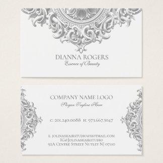 Cartão De Visitas Luz - redemoinhos ornamentado cinzentos da mandala