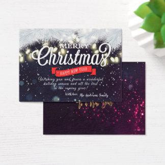 Cartão De Visitas Luzes da corda do pinho do desejo do feriado do