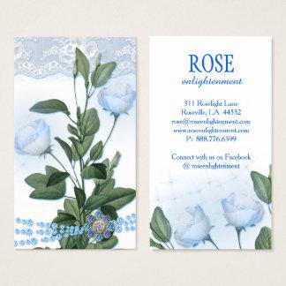 Cartão De Visitas Luzes da faísca da flor do rosa do azul do luar