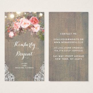 Cartão De Visitas Luzes de madeira rústicas florais cor-de-rosa da