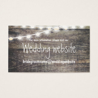 Cartão De Visitas Luzes rústicas da madeira e da corda que wedding o