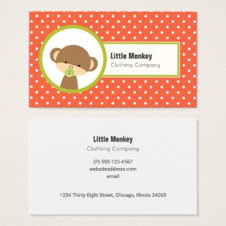 Cartão De Visitas Macaco bonito do bebê com um Pacifier em bolinhas