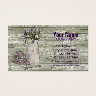Cartão De Visitas madeira rústica do celeiro da lavanda chique da