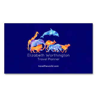 Cartão De Visitas Magnético Animais selvagens que funcionam junto a aguarela