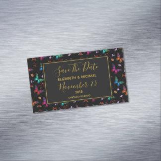 Cartão De Visitas Magnético Borboletas chiques que Wedding economias a data