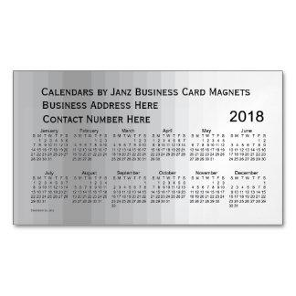 Cartão De Visitas Magnético Calendário cinzento de 2018 máscaras pelo ímã de