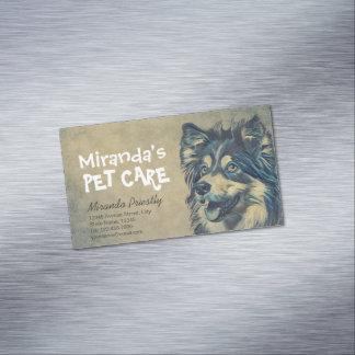 Cartão De Visitas Magnético Cão adorável de assento dos desenhos animados da