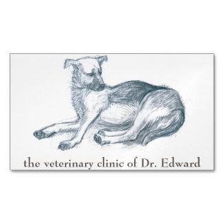 Cartão De Visitas Magnético Cão. Desenho de lápis