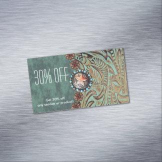 Cartão De Visitas Magnético cerceta elegante promocional de couro utilizado