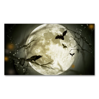 Cartão De Visitas Magnético Corvos assustadores da lua do Dia das Bruxas