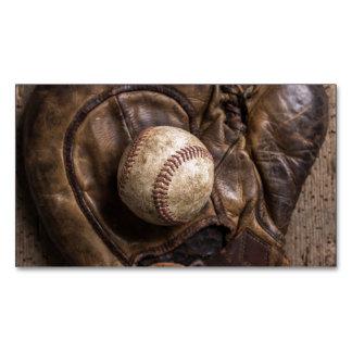 Cartão De Visitas Magnético Equipamento de basebol do vintage