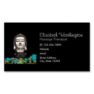 Cartão De Visitas Magnético Estátua principal de prata de Buddha com flores de